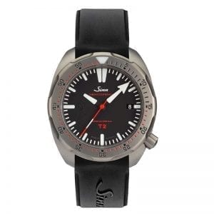 Sinn Dive Watch T2 on Silicone Strap with Folding Clasp. Authorized Canadian Retailer for Sinn Watches.