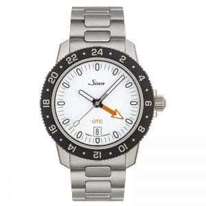 Sinn Watches 105 St Sa UTC / GMT White on H-Link Bracelet. Authorized Canadian Retailer for Sinn Watches.