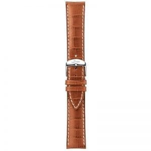 20mm Cowhide Alligator Embossed; Cognac-coloured; White seams; Small; Satin buckle